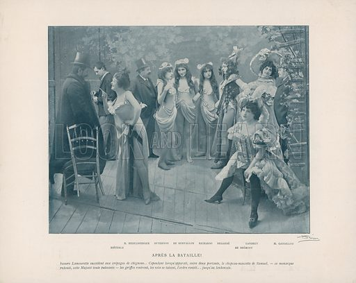 Illustration for Le Panorama Paris La Nuit. No 1, Les Coulisses des Varietes (Ludovic Baschet, c 1900).