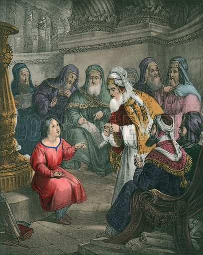 Christ with the Doctors in the Temple. Preceptive Illustrations of the Bible published by Thomas Varty (c 1880).