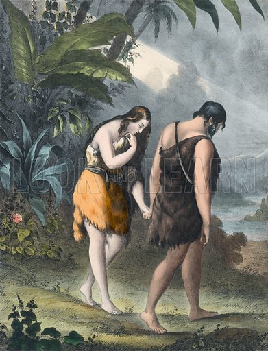 Adam and Eve driven out of Paradise. Preceptive Illustrations of the Bible published by Thomas Varty (c 1880).