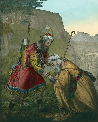 Jacob's Reconciliation with his Brother Esau. Preceptive Illustrations of the Bible published by Thomas Varty (c 1880).