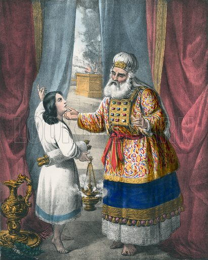 Eli questioning Samuel regarding the Vision. Preceptive Illustrations of the Bible published by Thomas Varty (c 1880).
