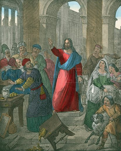 Christ cleanses the Temple.  Preceptive Illustrations of the Bible published by Thomas Varty (c 1880).