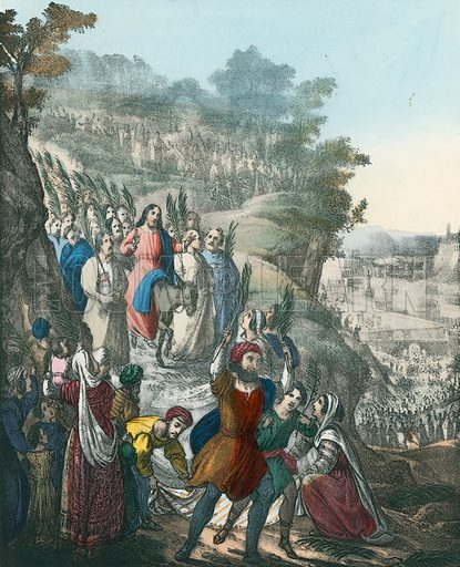 Christ's Triumphal Entry into Jerusalem. Preceptive Illustrations of the Bible published by Thomas Varty (c 1880).