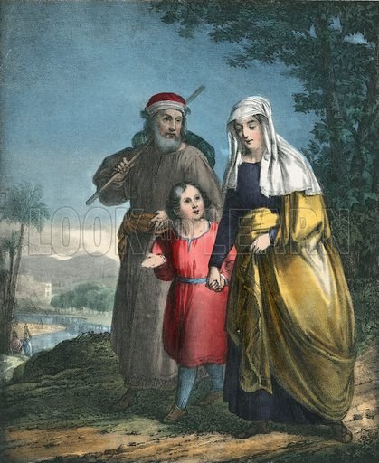 Jesus returning with his parents to Nazareth.  Preceptive Illustrations of the Bible published by Thomas Varty (c 1880).