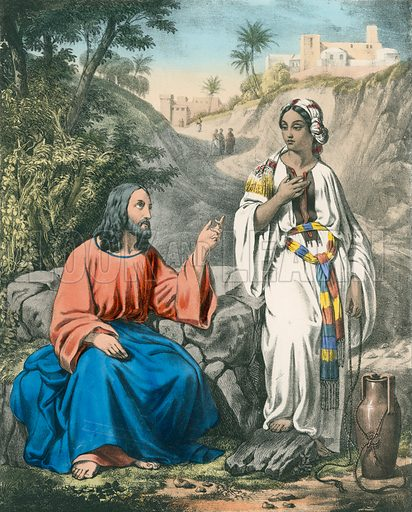 Christ and the Woman of Samaria at Jacob's Well.  Preceptive Illustrations of the Bible published by Thomas Varty (c 1880).