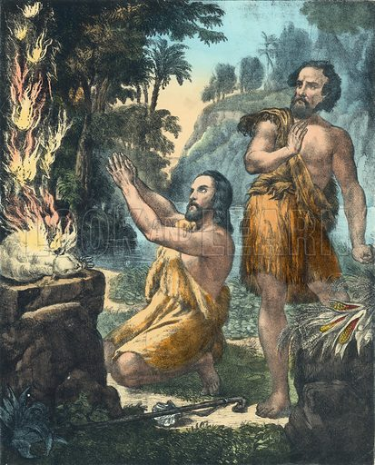 The Sacrifice of Cain and Abel.  Preceptive Illustrations of the Bible published by Thomas Varty (c 1880).