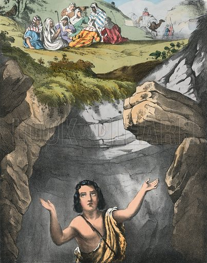 Joseph cast into the Pit by his Brethren. Preceptive Illustrations of the Bible published by Thomas Varty (c 1880).