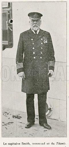 Captain Smith of the Titanic.  Illustration from L'Illustration magazine, 1912.