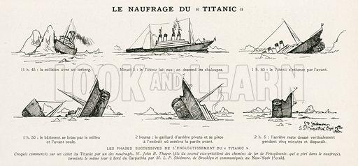 Shipwreck of the Titanic.  Illustration from L'Illustration magazine, 1912.