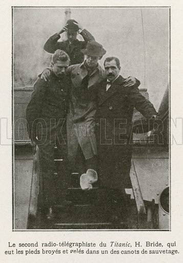 Second radio operator of the Titanic.  Illustration from L'Illustration magazine, 1912.