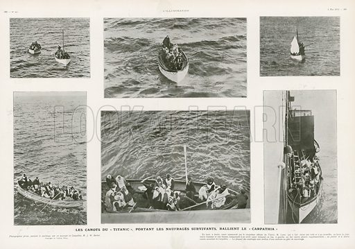 The Life Boats of the Titanic.  Illustration from L'Illustration magazine, 1912.