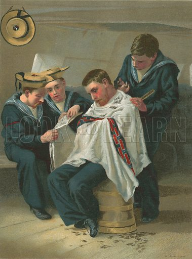 The Queen's Barber. Painted for the Boy's Own Paper.
