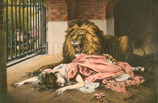 The Lion's Bride.  Kronheim print.  From The Boy's Own Paper.