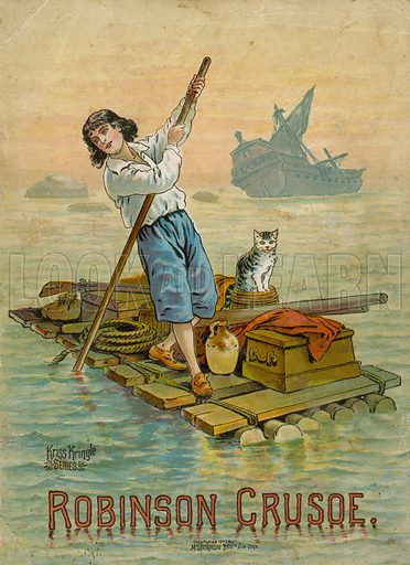 Robinson Crusoe on his raft.  Illustration for Robinson Crusoe by Daniel Defoe (McLoughlin Brothers, 1897).