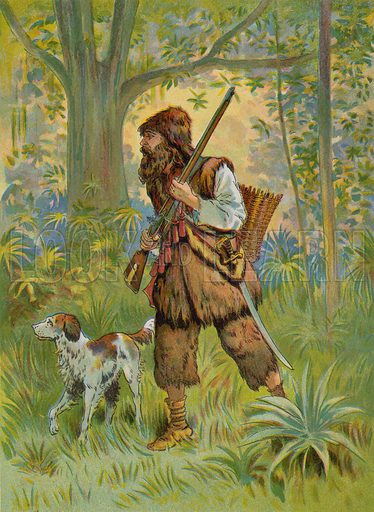 Robinson Crusoe out hunting.  Illustration for Robinson Crusoe by Daniel Defoe (McLoughlin Brothers, 1897).