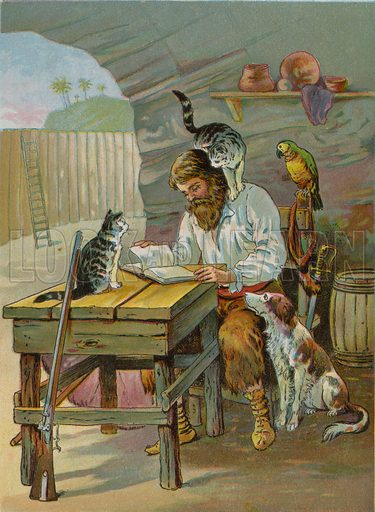 Robinson Crusoe at home in the castle. Illustration for Robinson Crusoe by Daniel Defoe (McLoughlin Brothers, 1897).