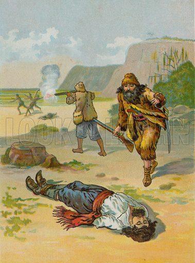 Robinson Crusoe releases the captive.  Illustration for Robinson Crusoe by Daniel Defoe (McLoughlin Brothers, 1897).