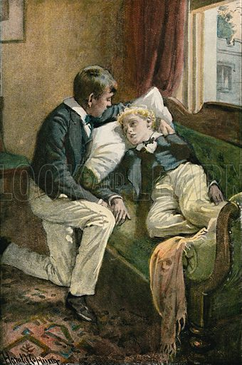 Tom put his arm round Arthur's head. Illustration for Tom Brown's School Day's by Thomas Hughes (Collins, c 1900).