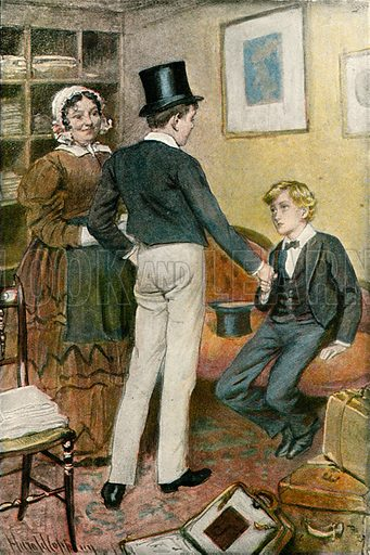 'His name's George Arthur'. Illustration for Tom Brown's School Day's by Thomas Hughes (Collins, c 1900).