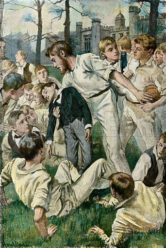 Old Brooke picks him up.  Illustration for Tom Brown's School Day's by Thomas Hughes (Collins, c 1900).