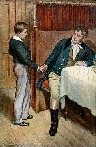 'I'll try, father.'  Illustration for Tom Brown's School Day's by Thomas Hughes (Collins, c 1900).