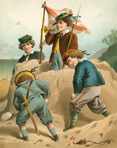 The Sand Castle. Illustration for Home Kindness (Thomas Nelson, c 1880).