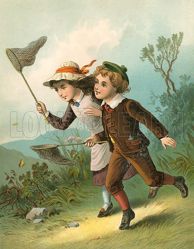 The Butterfly Hunt. Illustration for Home Kindness (Thomas Nelson, c 1880).