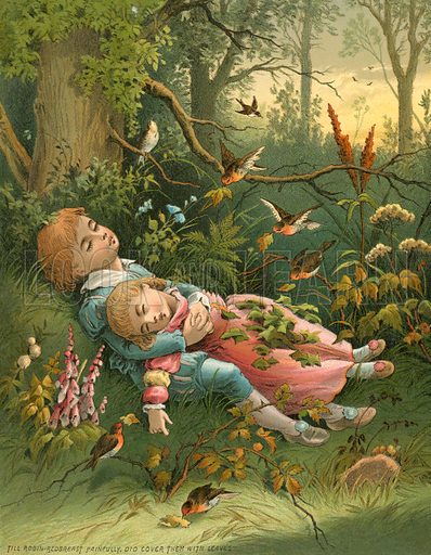 The Children in the Wood. Illustration for Home Kindness (Thomas Nelson, c 1880).