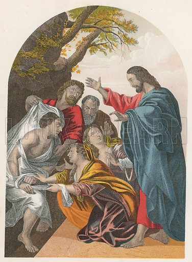 The Raising of Lazarus. Illustration for The National Comprehensive Bible (WRM'Phun & Son, 1876).