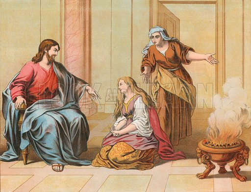 Jesus in the House of Martha and Mary. Illustration for The National Comprehensive Bible (WRM'Phun & Son, 1876).