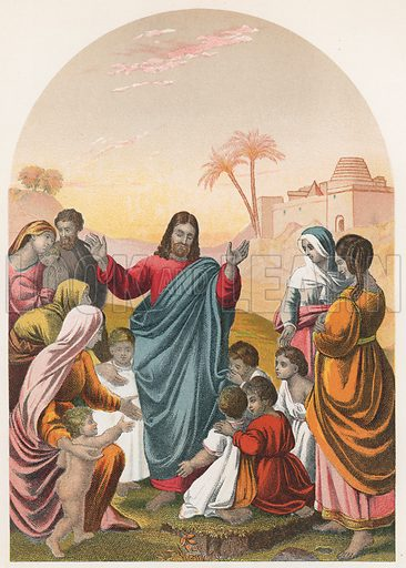 Christ Blessing Little Children. Illustration for The National Comprehensive Bible (WRM'Phun & Son, 1876).