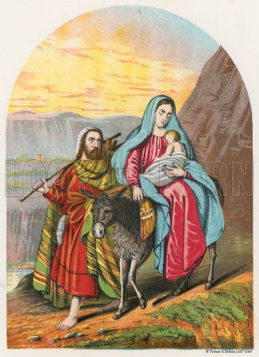 The Flight into Egypt. Illustration for The National Comprehensive Bible (WRM'Phun & Son, 1876).