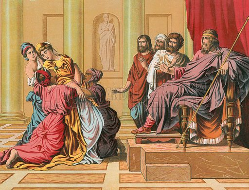 Ahasuerus and Queen Esther. Illustration for The National Comprehensive Bible (WRM'Phun & Son, 1876).
