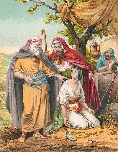 Boaz and Ruth. Illustration for The National Comprehensive Bible (W R M'Phun & Son, 1876).