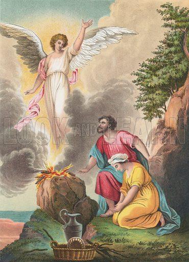 Manoah's Sacrifice. Illustration for The National Comprehensive Bible (WRM'Phun & Son, 1876).