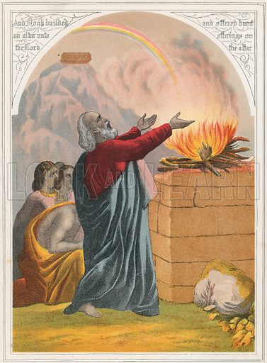 Noah. Illustration for The National Comprehensive Bible (W R M'Phun & Son, 1876).