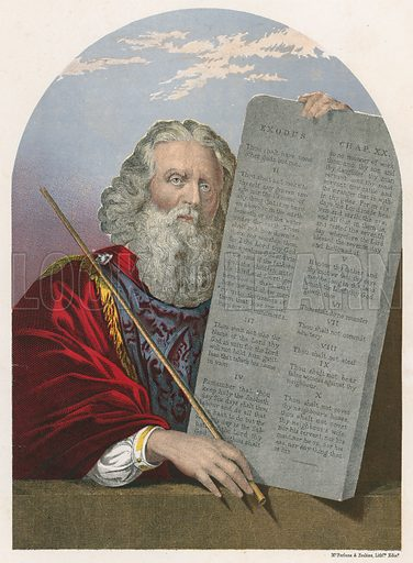 Moses with the Tables of the Law. Illustration for The National Comprehensive Bible (WRM'Phun & Son, 1876).