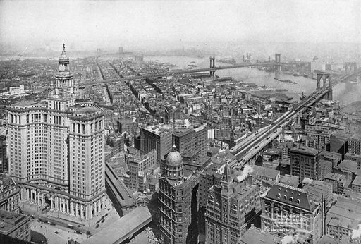 Looking East of Woolworth Building. Photograph from New York Illustrated (c 1925).