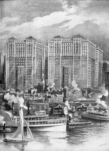Hudson Terminals. Photograph from New York Illustrated (c 1925).