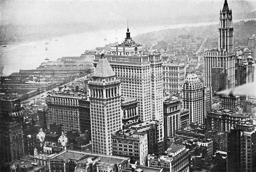 Lower Manhattan and Hudson River. Photograph from New York Illustrated (c 1925).