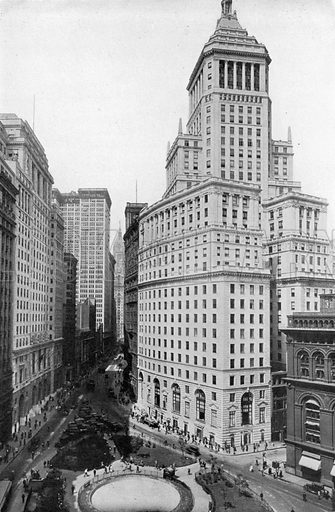 View of Standard Oil Building and Lower Broadway, looking North. Photograph from New York Illustrated (c 1925).