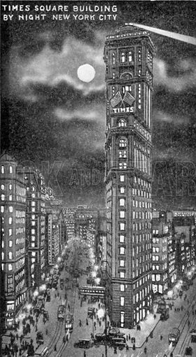 Times Square Building by Night New York City. Photograph from New York Illustrated (c 1925).