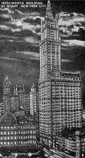 Woolworth Building at Night New York City. Photograph from New York Illustrated (c 1925).
