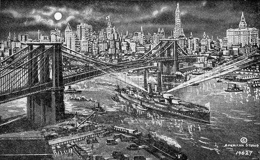 Brooklyn Bridge and New York Skyline by Night. Photograph from New York Illustrated (c 1925).