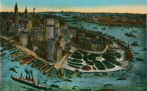 Bird's Eye View of Lower New York. Photograph from New York Illustrated (c 1925).