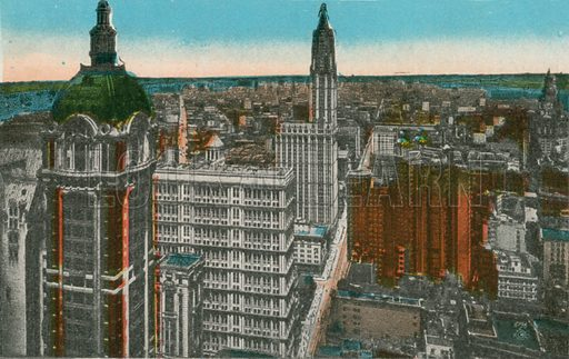 Singer Tower, Woolworth and Municipal Buildings, New York. Photograph from New York Illustrated (c 1925).