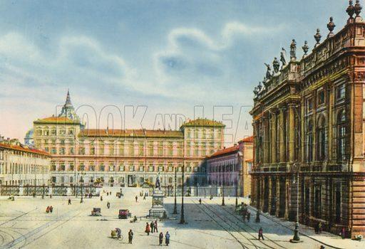 Torino – Piazza Castello e Palazzo Reale. Photograph from Ricordo di Torino (c 1930).