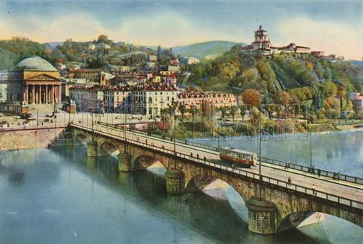 Torino – Ponte Vittorio Emanuele e la Gran Madre di Dio. Photograph from Ricordo di Torino (c 1930).