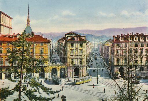 Torino – Via Po e Via Giuseppe Verdi. Photograph from Ricordo di Torino (c 1930).