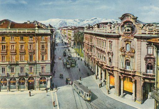 Torino - Piazza Solferino e Via Cernaia. Photograph from Ricordo di Torino (c 1930).